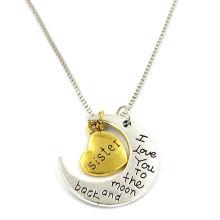 30mm gravierte Ich liebe dich zu der Mond-Charme-Halskette