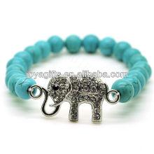 Turquoise 8MM Round Beads Stretch Gemstone Bracelet with Diamante Alloy elephant Piece