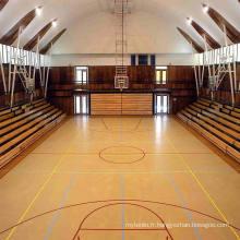 Plancher intérieur de sports de PVC de petit pain / plancher de basket-ball / surface en bois de certificat de tapis de Fiba