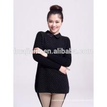 moda renda coleira de cashmere tricô camisola grossa feminina