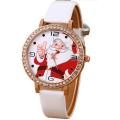 Leather Strap 3-5ATM Waterproof Christmas Quartz Watch