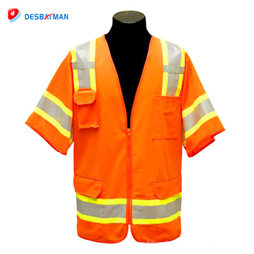 Hot vente pas cher mode professionnel salut vis veste avec poches