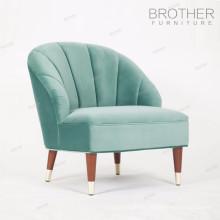 Nouveau design de style européen caoutchouc bois jambes tissu vert clair hôtel unique chaise douce avec haut dossier
