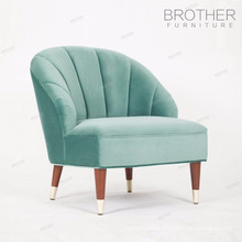 New design European style rubber wood legs fabric light green hotel single soft chair with high back