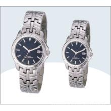 Grau par de aço inoxidável, relógios, relógio de quartzo 15190