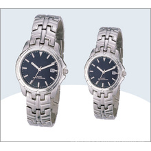 Grade Edelstahl Paar Uhren, Quarzuhr 15190