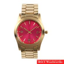 Gold überzogene Edelstahl-Kasten-rückseitige Frauen-Armbanduhr-Damen