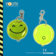 Reflektierender LED-Schlüsselanhänger mit Smile-Gesicht für Sicherheit