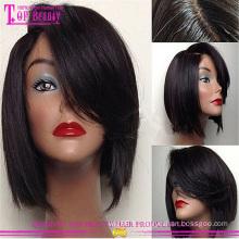 Nouveaux produits de beauté pas cher cheveux humains brésiliens bob perruques avec une frange 6-14 pouces bob style top soie perruques de dentelle