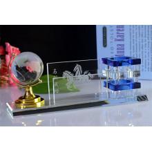 Porte-stylo en cristal de cadeaux de bureau avec Globe Terrestre en cristal