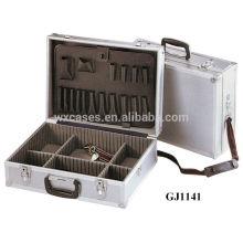 Caja de herramienta de aluminio con paletas de herramienta plegable y ajustables compartimentos dentro y con una correa de hombro
