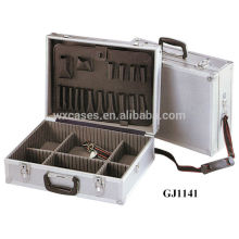 Aluminum Tool Case With Fold-down Tool Pallet And Adjustable Compartments Inside and With One Shoulder Strap