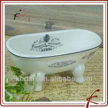 China Fábrica de cerámica porcelana mini bañera jabón plato baño accesorios