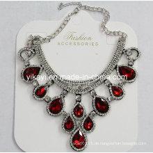Lady Modeschmuck Rot Waterdrop Glas Kristall Anhänger Halskette (JE0211)