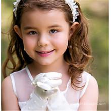 Guantes de satén de niña de flores guantes de satén de novia de boda guantes guantes de encaje de longitud de la muñeca