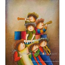 Peinture à l'huile de dessin animé abstraite moderne à la main (ECT-010)
