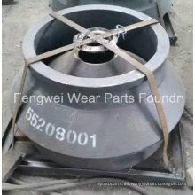 Fundición de alta Manganeso Cono trituradora partes Mantle Compatible con Metso