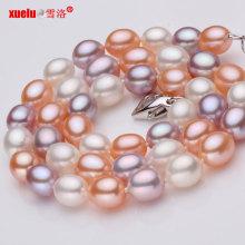 Multicolor AAA Rice Shape Genuine Pearl Necklace Atacado