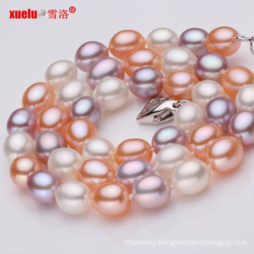 Multicolor AAA Rice Shape Geniune Pearl Necklace Wholesale