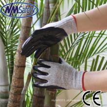 NMSAFETY HPPE & luva de proteção anti-corte de nitrilo revestida de fibra de vidro