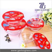 5PCS Glass Bowl Set with Colorful Lid