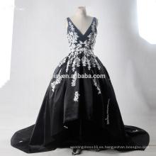 RSE704 blanco y negro de encaje sexy corto delantero largo vestido de novia trasero