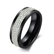 Regalo del anillo coreano de los amantes, anillo de cerámica negro, tres filas de diamantes de imitación de cristal para Navidad