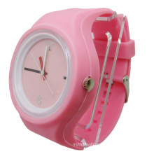 Pink Removable Case Eco-Friendly Silicone Jelly Watch