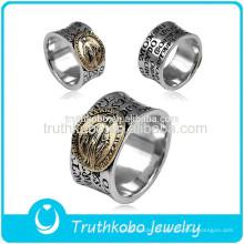 2015 acessórios de moda de qualidade superior religiosa aço inoxidável Oração anel de dedo com design de esmalte preto para muçulmanos