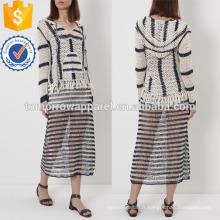 Ivory & Navy Doux Crochet Knit Hoodie Fabrication De Mode En Gros Femmes Vêtements (TA4026B)