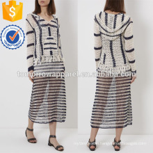 Ivory&Navy Soft Crochet Knit Hoodie Manufacture Wholesale Fashion Women Apparel (TA4026B)