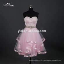 RQ086 Lovely Strapless Princss Beaded Bodice Corset Bowknot Lace Up Vestido de Baile Pink Wedding Dress Short