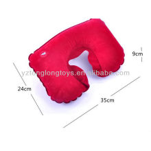 ECO - friendly 5 solid colors flocking travel pillow inflatable