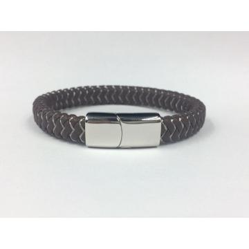 Mens Weave Leather Wire Rope Magnetic Clasp Armband