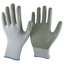 NMSAFETY white liner grey nitrile hand job gloves
