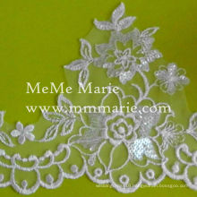 Embroidery Bridal Lace Fabric Lace Trimming with Silver Sequins CTB197