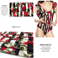 Rose Design Polyester Spandex Printed Swimwear Fabric