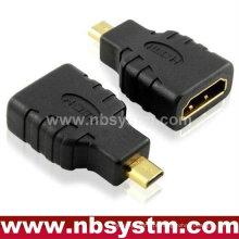 Micro adaptador HDMI A tipo fêmea para tipo D macho ethernet de suporte