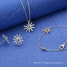 O mais elegante atraente ouro 24k Dubai jóias ornamento conjunto falso diamante ornamento jóias set