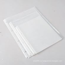 Bolsa de sobre con cremallera de papel A4 Protectores de hojas