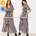 Self Tie Waist Striped Split Front Dress Manufacture Wholesale Fashion Women Apparel (TA3174D)