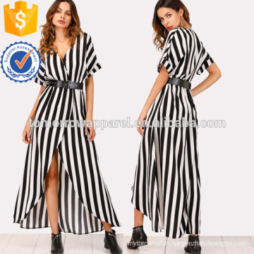 Self Tie Waist Striped Split Front Dress Manufacture Wholesale Fashion Women Apparel (TA3174D)