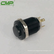 Botón pulsador iluminado de aluminio negro CMP 12 mm.