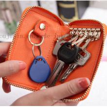 OEM Logo Reißverschluss Leder Werbe Schlüssel Tasche mit Haken