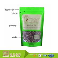 Papier d'aluminium d'emballage alimentaire de coutume tenant le mat de poche avec la tirette et la fenêtre