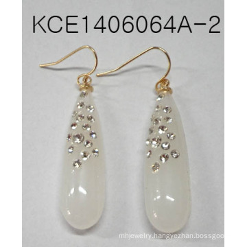 Elegant White Glass Earring with Metal