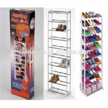Portable Space Saving Shoes Rack\White Color 10Tiers Powder coated Plastic Shoes Rack\Taking Easy Shop's Shoes Self