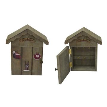 Caja de madera antigua para el llavero casero