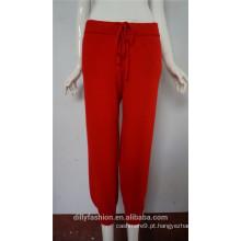 moda estilo coreano 12gg plana malha feminina 100% calças de caxemira