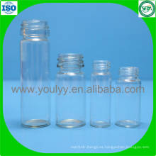 Botella de vidrio transparente